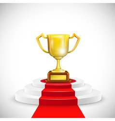 Podium With Red Carpet And Trophy Cup vector image