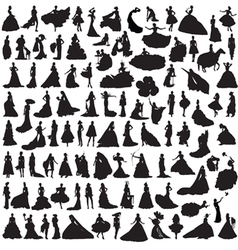 set of women silhouettes vector image vector image