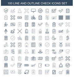 100 check icons vector image
