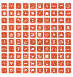 100 history icons set grunge orange vector