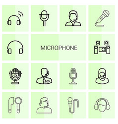14 microphone icons vector
