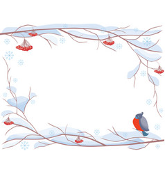 a winter frame from frozen rowan branches and a vector image