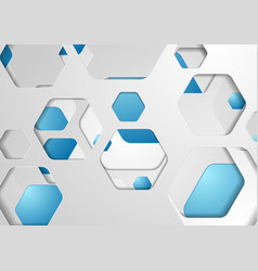 abstract tech grey blue paper hexagons background vector image