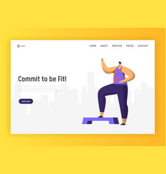 aerobic fitness character design for landing page vector image