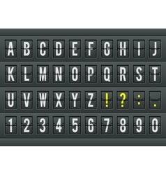 Airport arrival table alphabet with characters and vector image