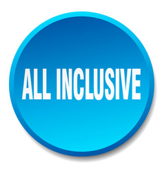 All inclusive blue round flat isolated push button vector