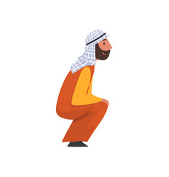 arab man in traditional muslim clothes squatting vector image