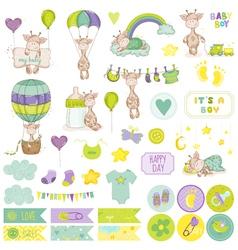 Baboy giraffe scrapbook set vector