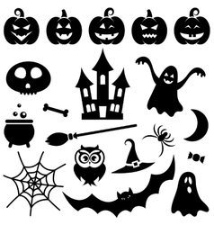 Black Halloween icons set vector