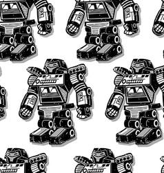 Black robot warrior seamless pattern vector