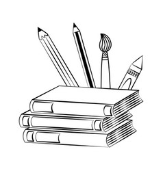 books pencils brush back vector image