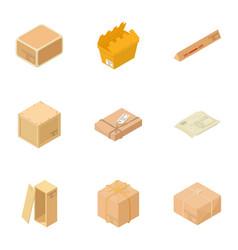 box icons set isometric style vector image