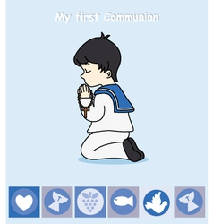 Boy praying vector