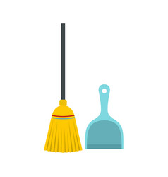 Broom and dustpan icon flat style vector
