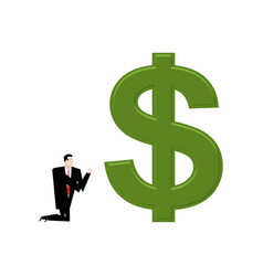 businessman praying to dollar prayer cash pray vector image