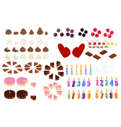 Cake decorations in isometric style vector