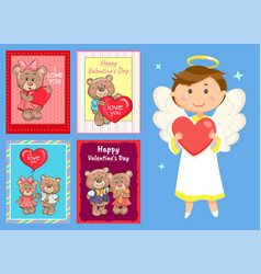 card with teddy and angel valentine day vector image