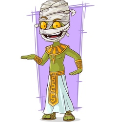 Cartoon funny green Egyptian mummy vector