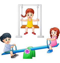 Cartoon kids playing seesaw and swing vector
