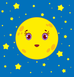 Cartoon moon on a background of a night starry sky vector