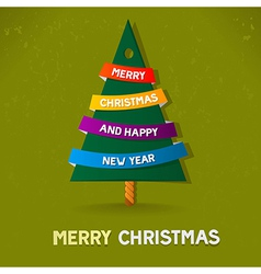 christmas tree merry christmas green card vector image