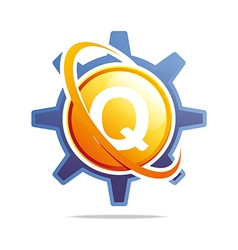 Circle globe gear letter q orange abstract vector