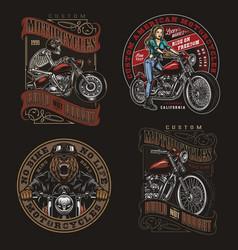 Colorful vintage motorcycle prints vector