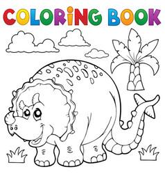 coloring book dinosaur theme 6 vector image