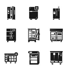 Commercial fridge icon set simple style vector