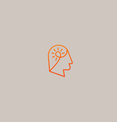 Creative idea brain logo head bulb vector