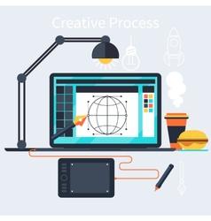 Creative process of designer concept vector image