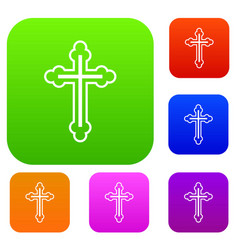 Crucifix set collection vector