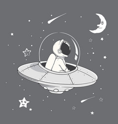 curious astronaut fly in flying saucer vector image