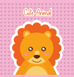cute animal lion wildlife baby hearts background vector image