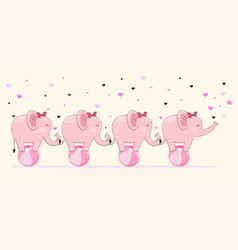 Cute elephants stick together standing on ball vector