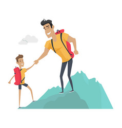 Daddy and son go camping sport activities vector