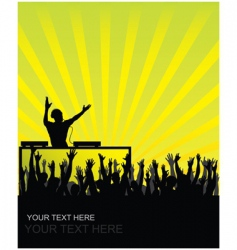 dj cheering audience vector image