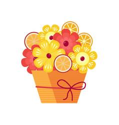Exotic fruit bouquet icon vector