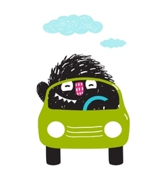 Fun Monster Driving Car Cartoon for Kids vector image