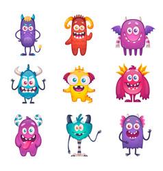 funny cartoon monster set vector image