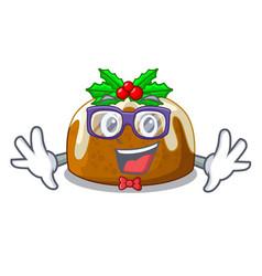 Geek cartoon homemade christmas pudding with holly vector