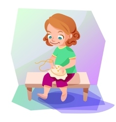 Girl doing a cross stitching vector