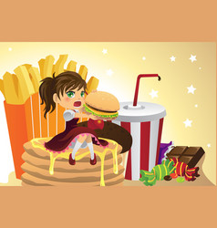 Girl eating junk food vector