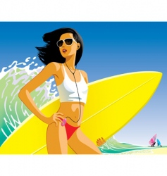 Girl with a surfboard vector