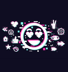 glitch style with cartoon face vector image
