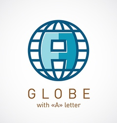 Globe net with A letter inside sign Corporate logo vector image