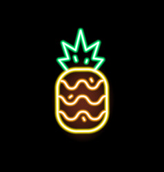 glowing neon light pineapple shape flat vector image