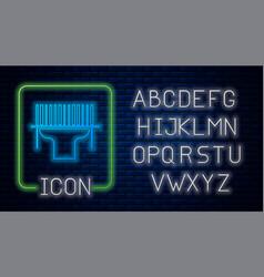 Glowing neon scanner scanning bar code icon vector