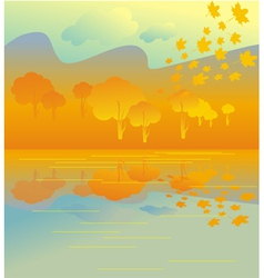 Golden autumn grove vector