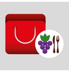 grocery bag grape nutrition fruit vector image